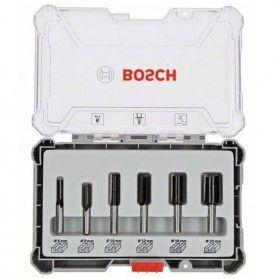 BOSCH Σετ 6 Φρέζες για ρούτερ ευθείας κοπής 6mm στέλεχος (2607017465)