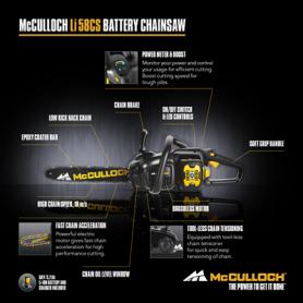 McCulloch Li 58CS ισχυρό αλυσοπρίονο μπαταρίας 58 V