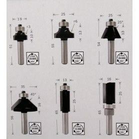 BOSCH Σετ Φρέζες για Ρούτερ Φ6mm - 6 Τμχ (2607017468)